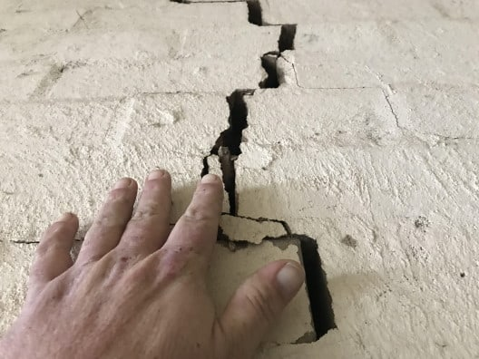 A cracked wall discovered during a building inspection